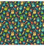 Seamless bright fun celebration festive pattern isolated on whit. E background Royalty Free Stock Photography