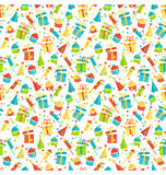 Seamless bright fun celebration festive pattern  on whit. E background Royalty Free Stock Photos