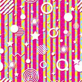 Seamless bright geometric pattern from strips, zigzag, circles, stars. Bright contrasting colors, daring design. Modern, fashionable style. Vector illustration Stock Photo