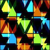 Seamless bright geometrical triangles pattern on black Royalty Free Stock Photography