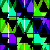 Seamless bright geometrical triangles pattern on black Royalty Free Stock Image