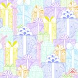 Seamless bright gift boxes pattern Royalty Free Stock Photo