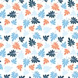 Seamless bright graphically stylized blue and orange natural leaves pattern texture element on white background.  stock illustration