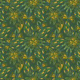 Seamless bright green abstract pattern of leaves. Royalty Free Stock Images