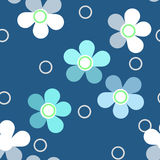 Seamless bright kids floral pattern on blue background Royalty Free Stock Photos