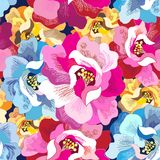 Seamless bright multicolored super flowers pattern stock images