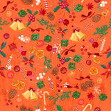 Seamless Bright Orange Pattern With Traditional Christmas Elements. Stock Image