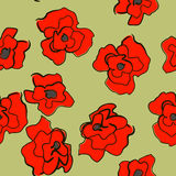 Seamless bright ornament with poppies Stock Photography