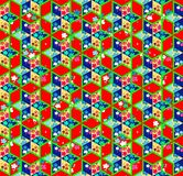 Seamless bright patchwork pattern with flowers. Royalty Free Stock Images