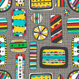 Seamless bright pattern of abstract elements Stock Photos