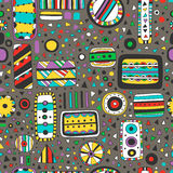 Seamless bright pattern of abstract elements Stock Images
