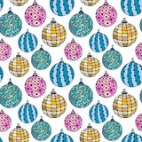 Seamless bright pattern with Christmas balls. New Year wrapping paper. Royalty Free Stock Photos