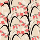 Seamless bright pattern with coral flowers illustration. Background Stock Photo