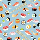Seamless bright pattern with different sushi. On a blue background Royalty Free Stock Photos