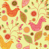 Seamless bright pattern with ethnic birds Royalty Free Stock Image