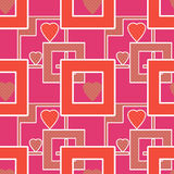 Seamless bright pattern with geometric elements hearts pink colo Royalty Free Stock Image