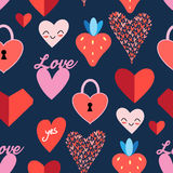 Seamless bright pattern with hearts Stock Image