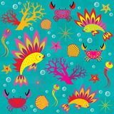Seamless bright pattern on the marine theme vector illustration