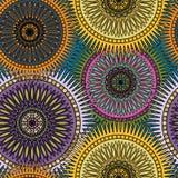 Seamless bright pattern with oriental mandalas. Islam, Arabic, Asian motifs. Kaleidoscope print. Vintage lace mood. Fabric, wallpaper or wrapping stock illustration