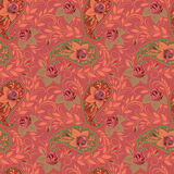 Seamless bright pink pattern with paisley and flowers. Vector print . Stock Photo