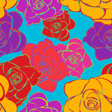 Seamless Bright Roses Pattern Stock Photos