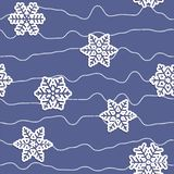 Seamless simple pattern of different paper carved snowflakes with shadow and winding lines of dots Stock Image