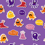 Seamless bright template of monsters Stock Photos