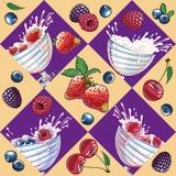 Seamless bright texture with yogurt and berries Stock Photo