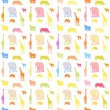 Seamless bright wild animals pattern stock illustration