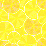 Seamless bright yellow pattern with lemon slices Stock Image