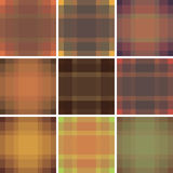 Seamless British pattern background collection. Plaid autumn palette tartan pattern set. Repeated twill texture for fashion fabric. Textile design, background Stock Images