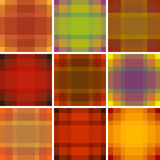 Seamless British pattern background collection. Plaid autumn palette tartan pattern set. Repeated twill texture for fashion fabric Royalty Free Stock Photography