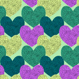 Seamless Broken Glass Hearts. Voronoi textured hearts background Stock Images