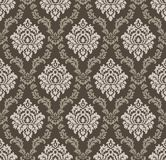 Seamless brown antique damask wallpaper Vector Illustration