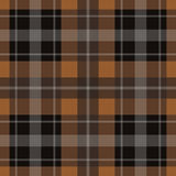 Seamless brown, black tartan - white stripes Stock Image