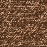 Seamless brown elegance hand write pattern Royalty Free Stock Image