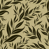 Seamless brown floral pattern with leafs Royalty Free Stock Images