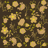 Seamless brown flower pattern Royalty Free Stock Photo