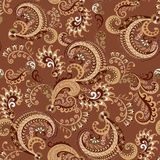 Seamless brown paisley pattern Royalty Free Stock Images