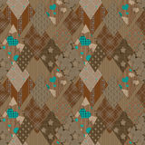 Seamless brown patchwork pattern background Royalty Free Stock Images