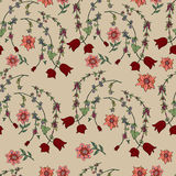 Seamless  brown pattern with doodle flowers Royalty Free Stock Images