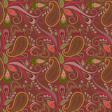 Seamless brown pattern with paisley and flowers. Vector print . Stock Images