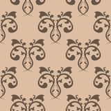 Seamless brown pattern with wallpaper ornaments Royalty Free Stock Photography