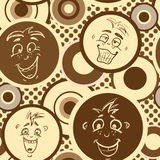 Seamless brown texture pattern with happy emotions Royalty Free Stock Image