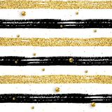 Seamless brush stroke pattern beads. Seamless brush stroke pattern with gold beads. Black and golden glitter hand drawn stripes on white. Vector textured striped royalty free illustration