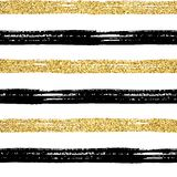 Seamless brush stroke pattern gold. Seamless brush stroke pattern. Black and golden glitter hand drawn stripes on white. Vector textured striped gold abstract stock illustration
