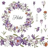 Seamless brush and wreath of spring flowers in  on white background. Wreath of Crocus. vector illustration