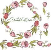 Seamless brush and wreath of Tulip flowers in vector on white background royalty free illustration
