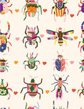 Seamless bug pattern. Vector drawing Stock Photography