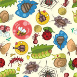 Seamless bug pattern. Vector drawing Royalty Free Stock Images